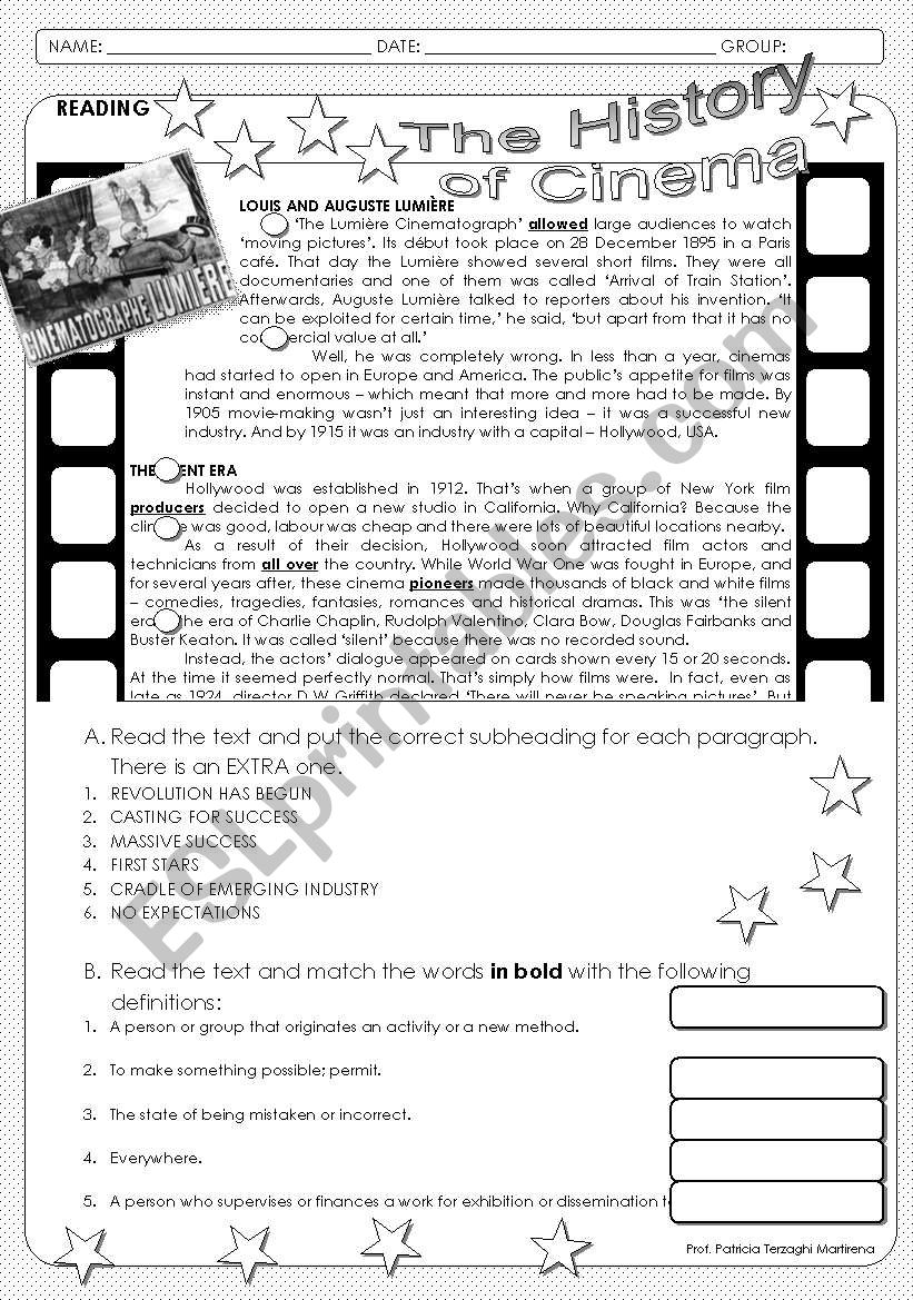 The History of Cinema worksheet