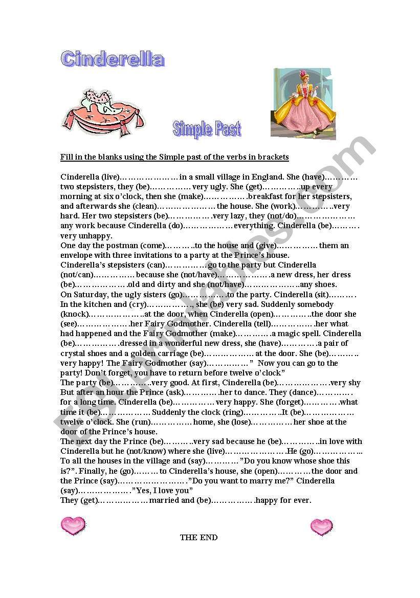 Cinderella Past Simple worksheet