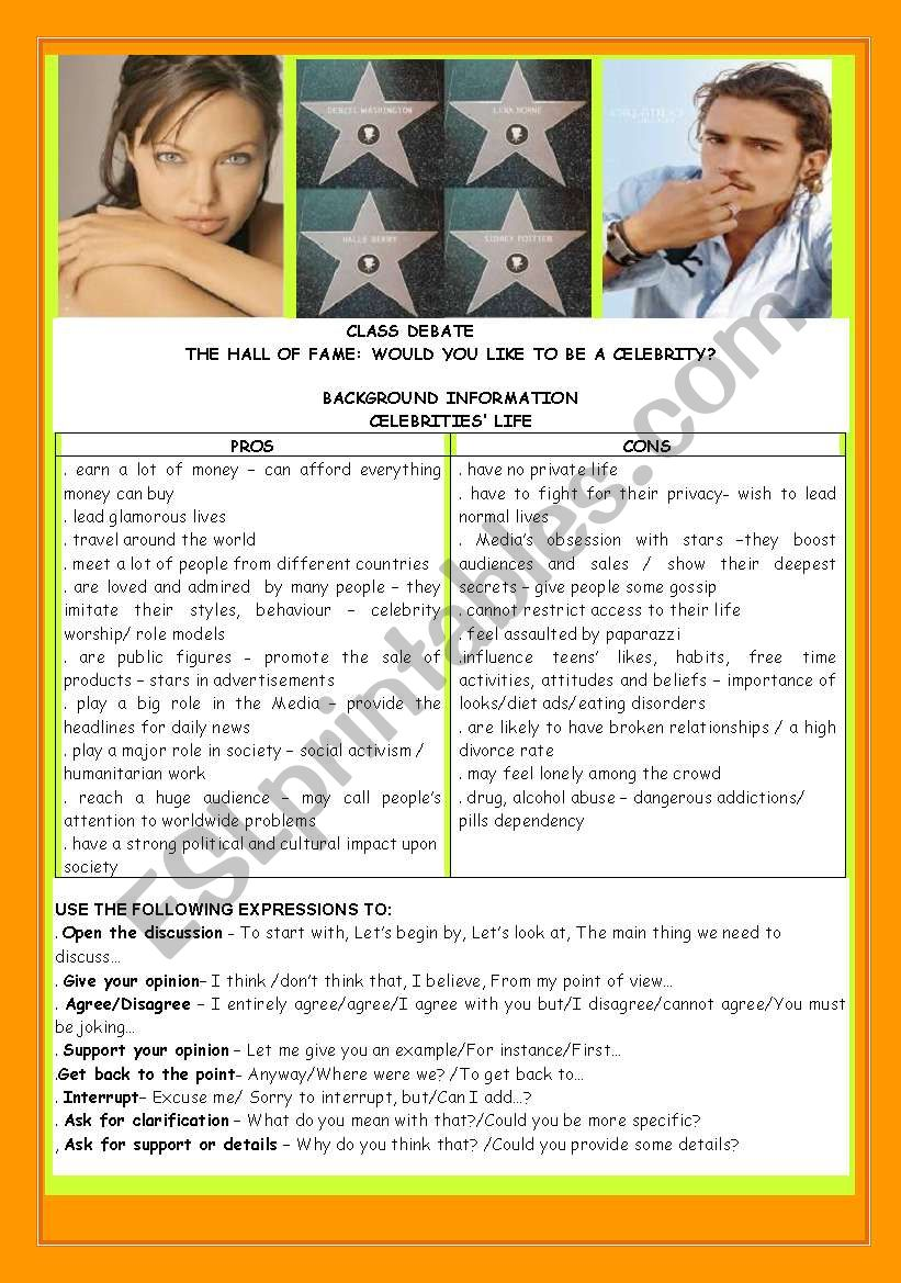 CONVERSATION -CLASS DEBATE:THE HALL OF FAME-WOULD YOU LIKE TO BE A CELEBRITY?