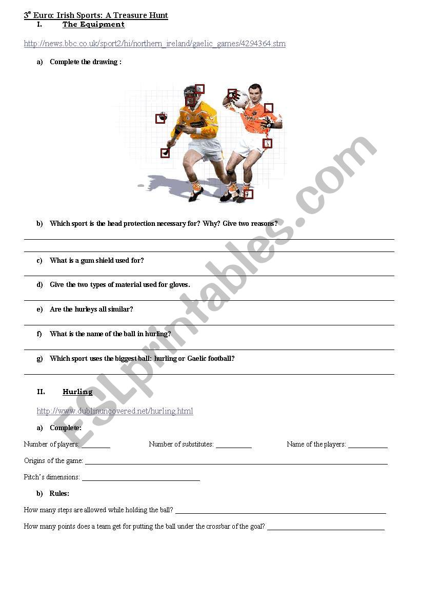 treasure hunt on irish sports worksheet