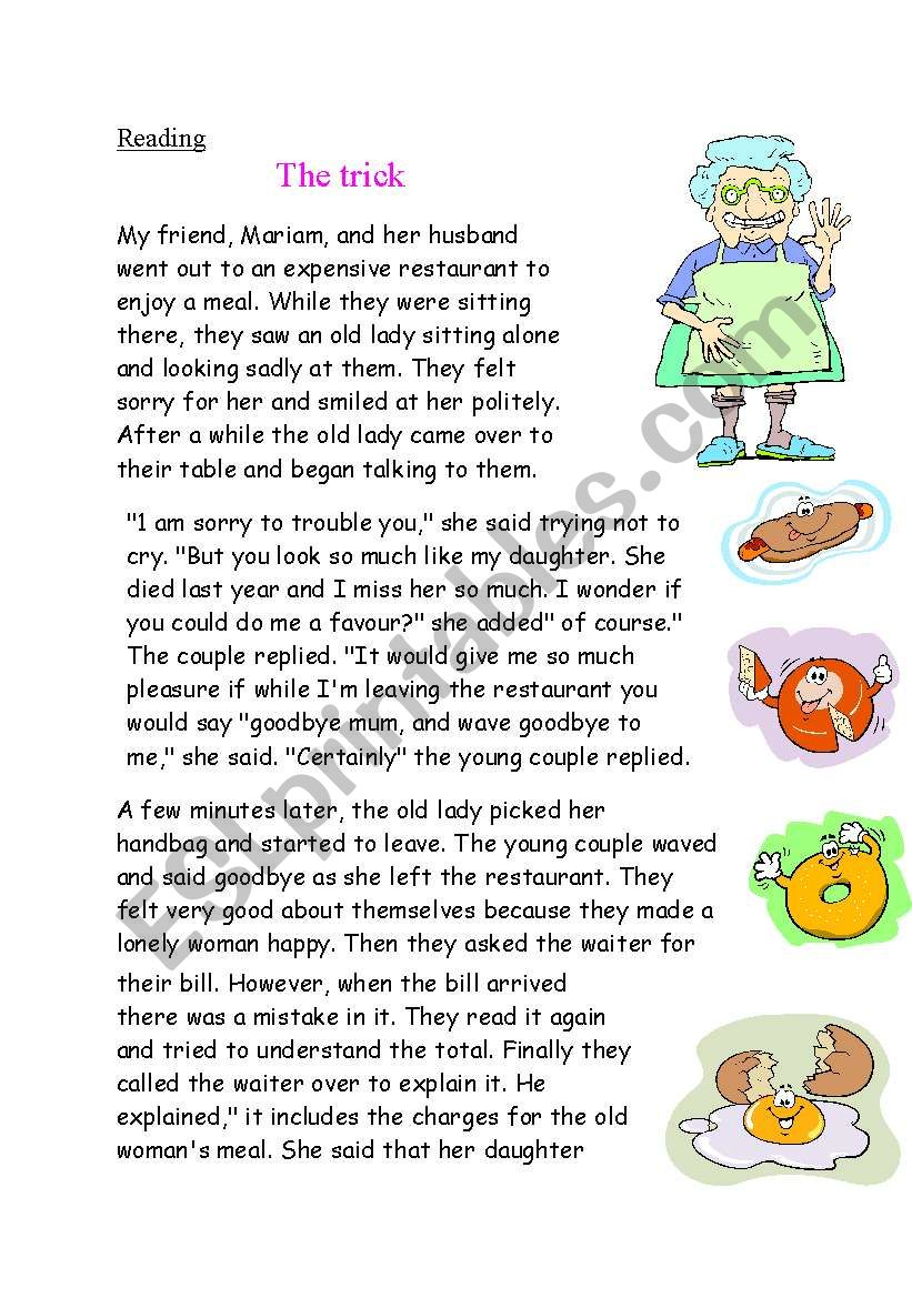 the trick reading activity worksheet