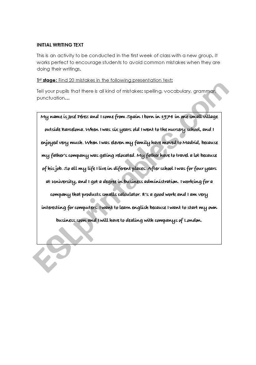 English Worksheets Common Writing Mistakes Exercise Marking