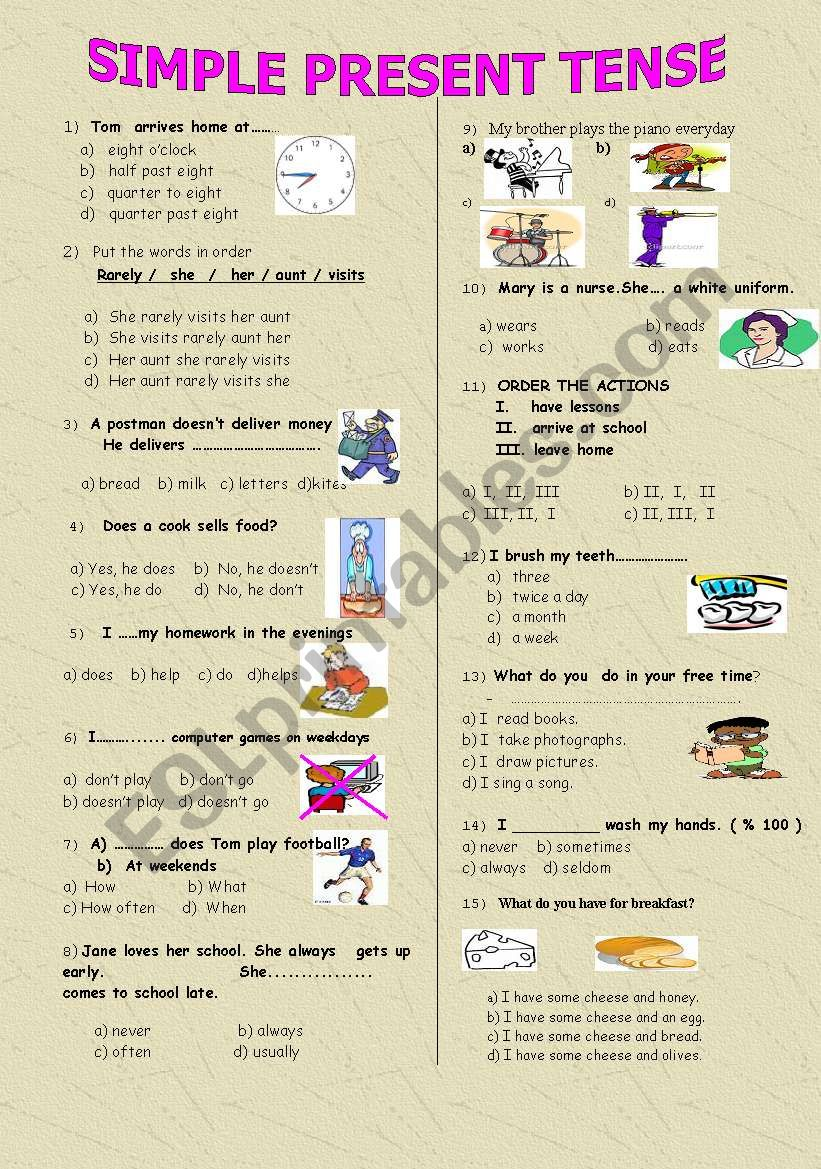 simple present tense (a multiple choice test)