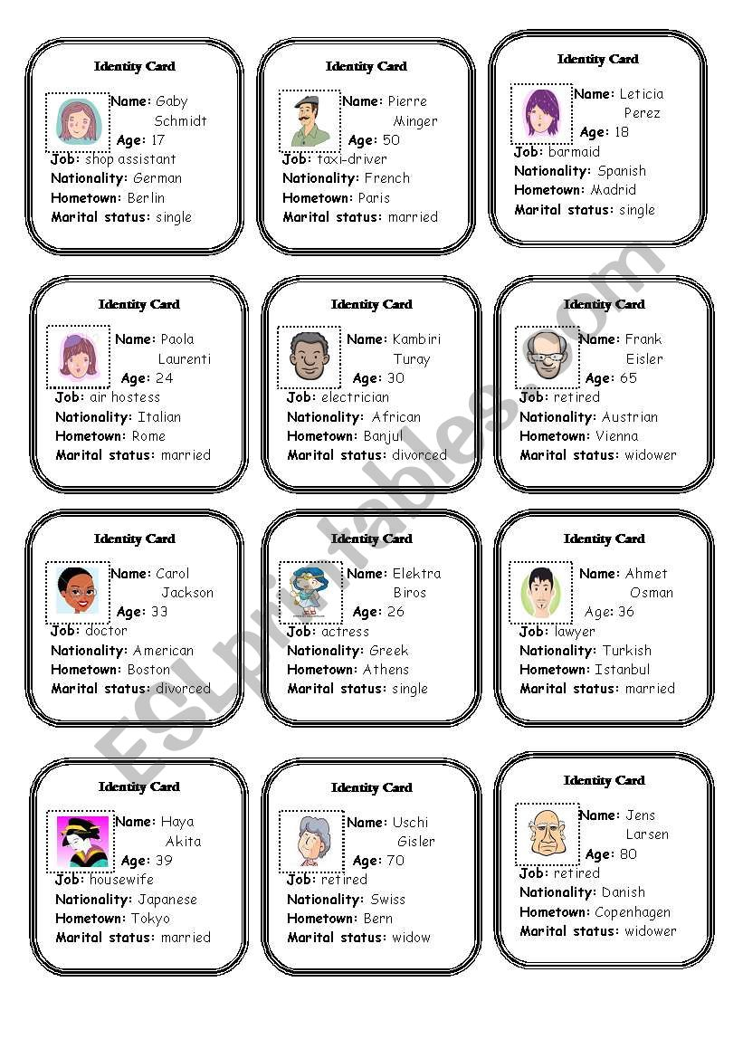 Identity Cards - part 1 worksheet