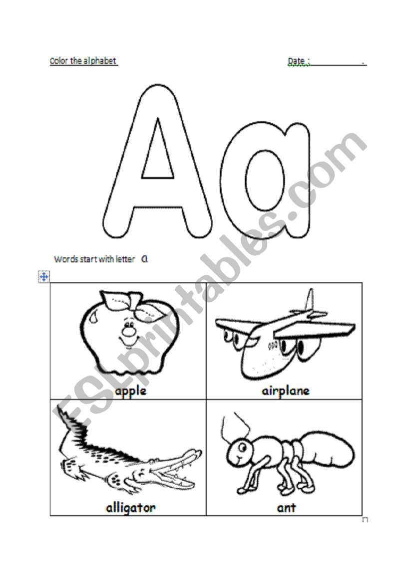 english worksheets  letter aa recognition correction