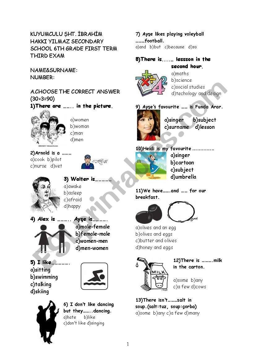 6th grade exam worksheet