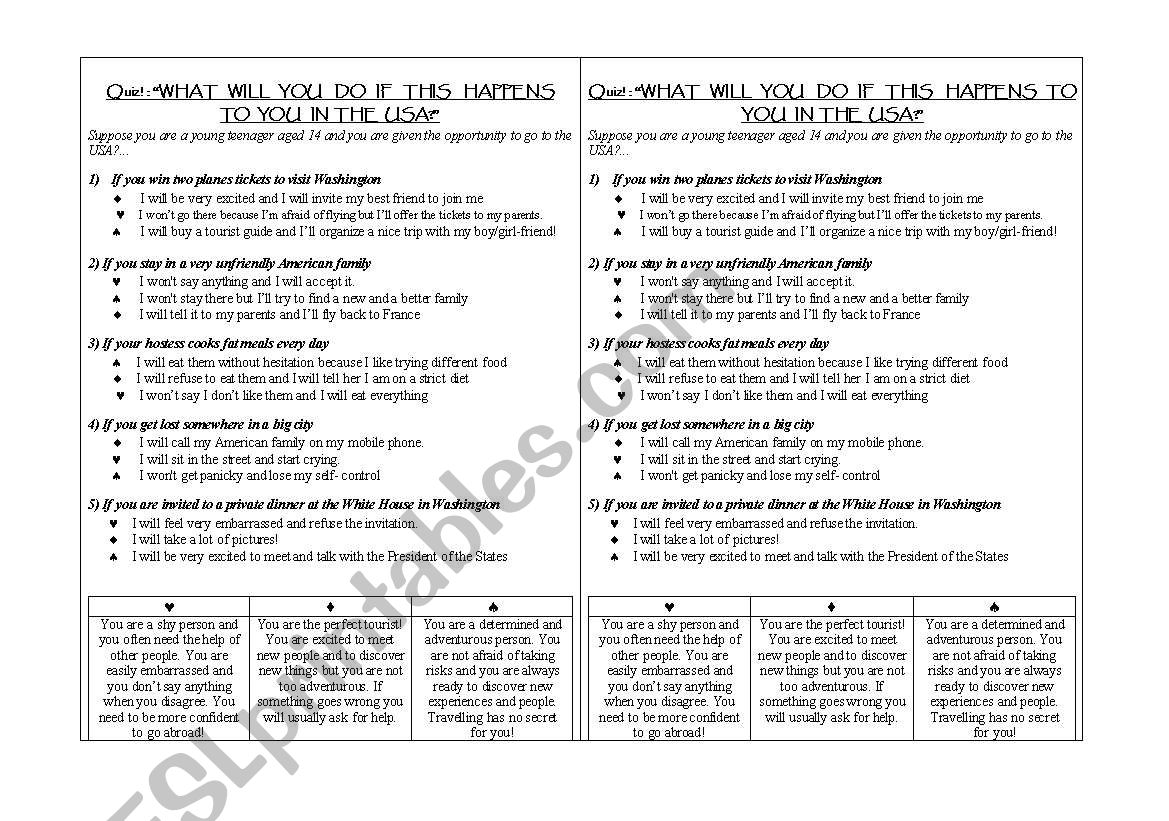 quiz: what will you do if    - ESL worksheet by waspoca