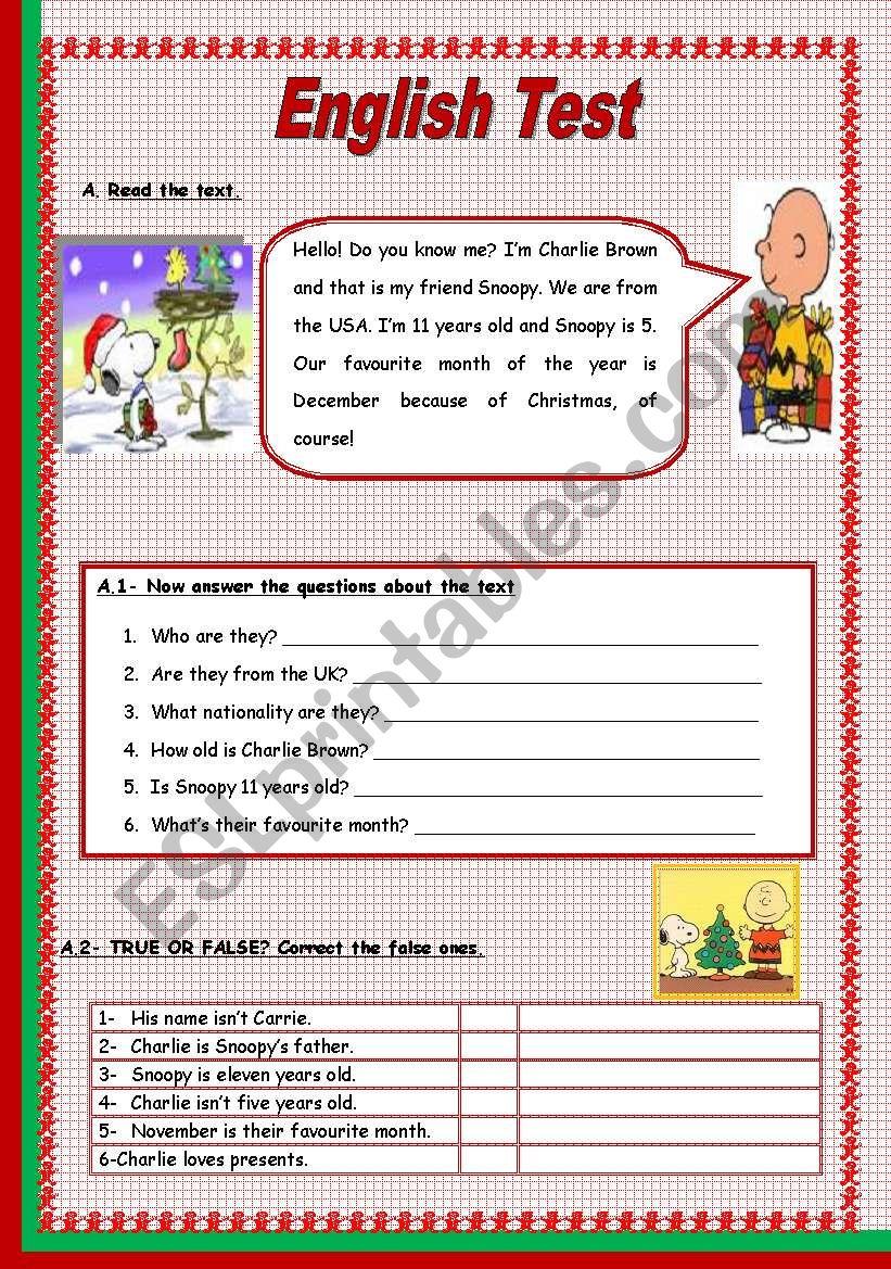 Test - 5th Grade (3 Pages) worksheet