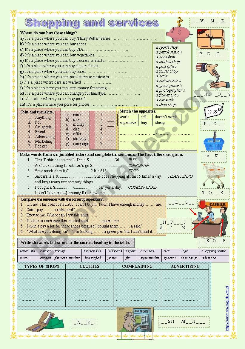 Shopping and services worksheet