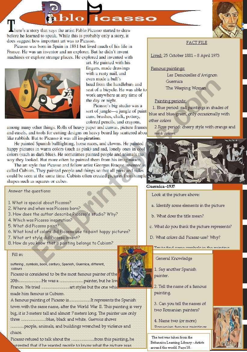 Pablo Picasso worksheet