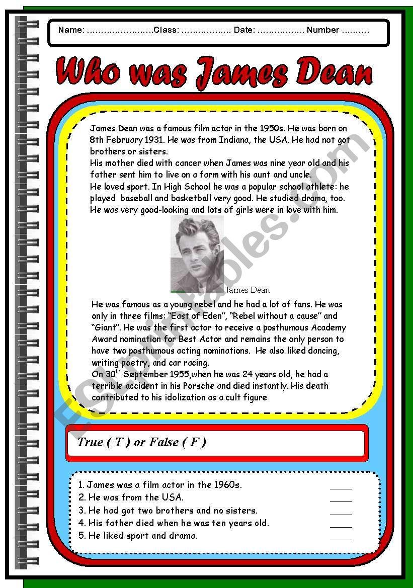 Who was James Dean  Reading comprehension  - ESL worksheet