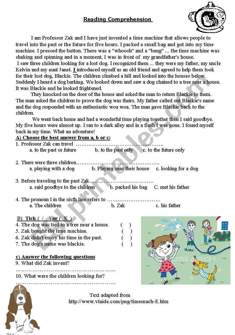The Time Machine worksheet