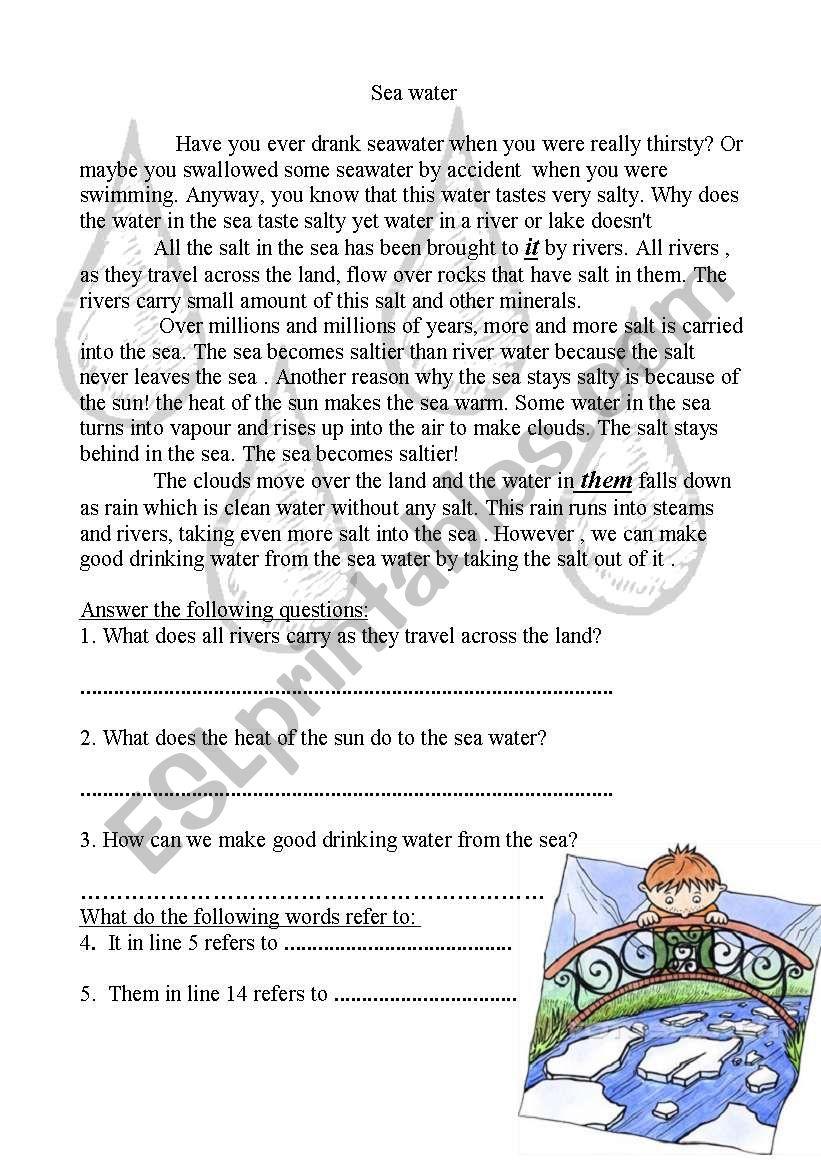 Sea water worksheet