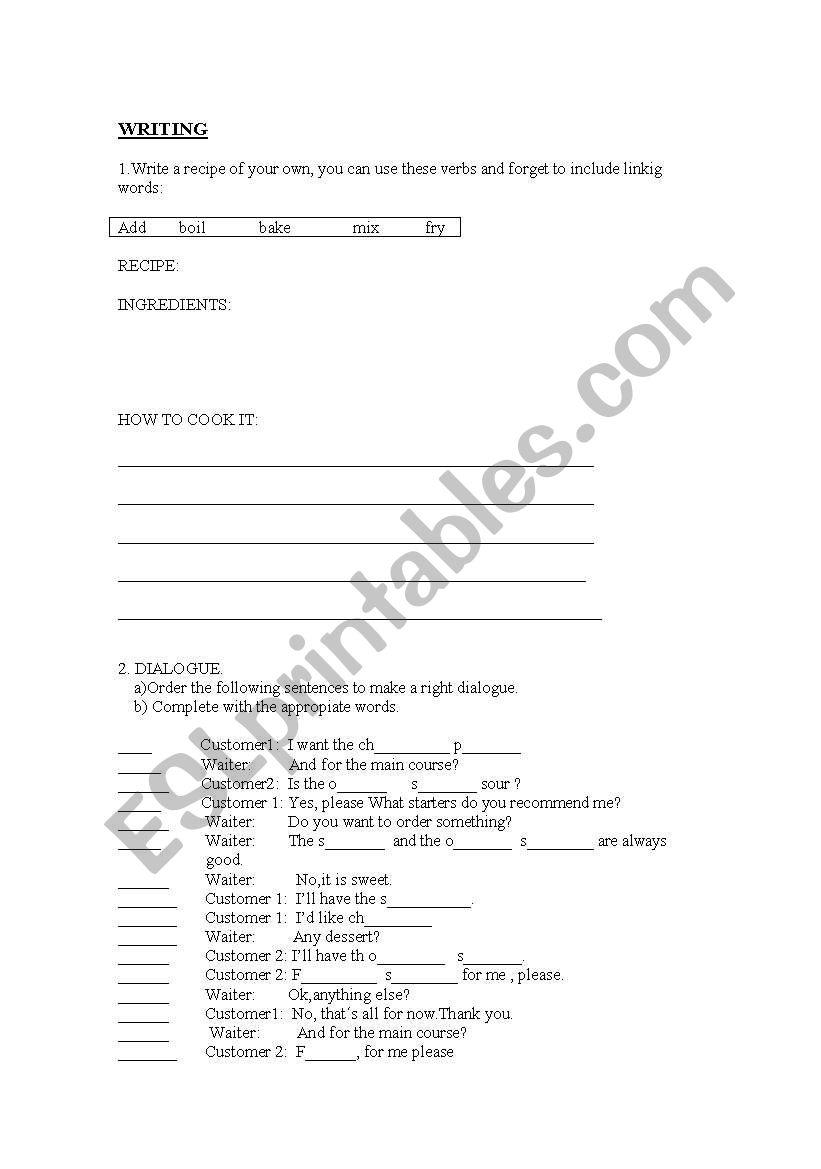 English worksheets: writing a recipe