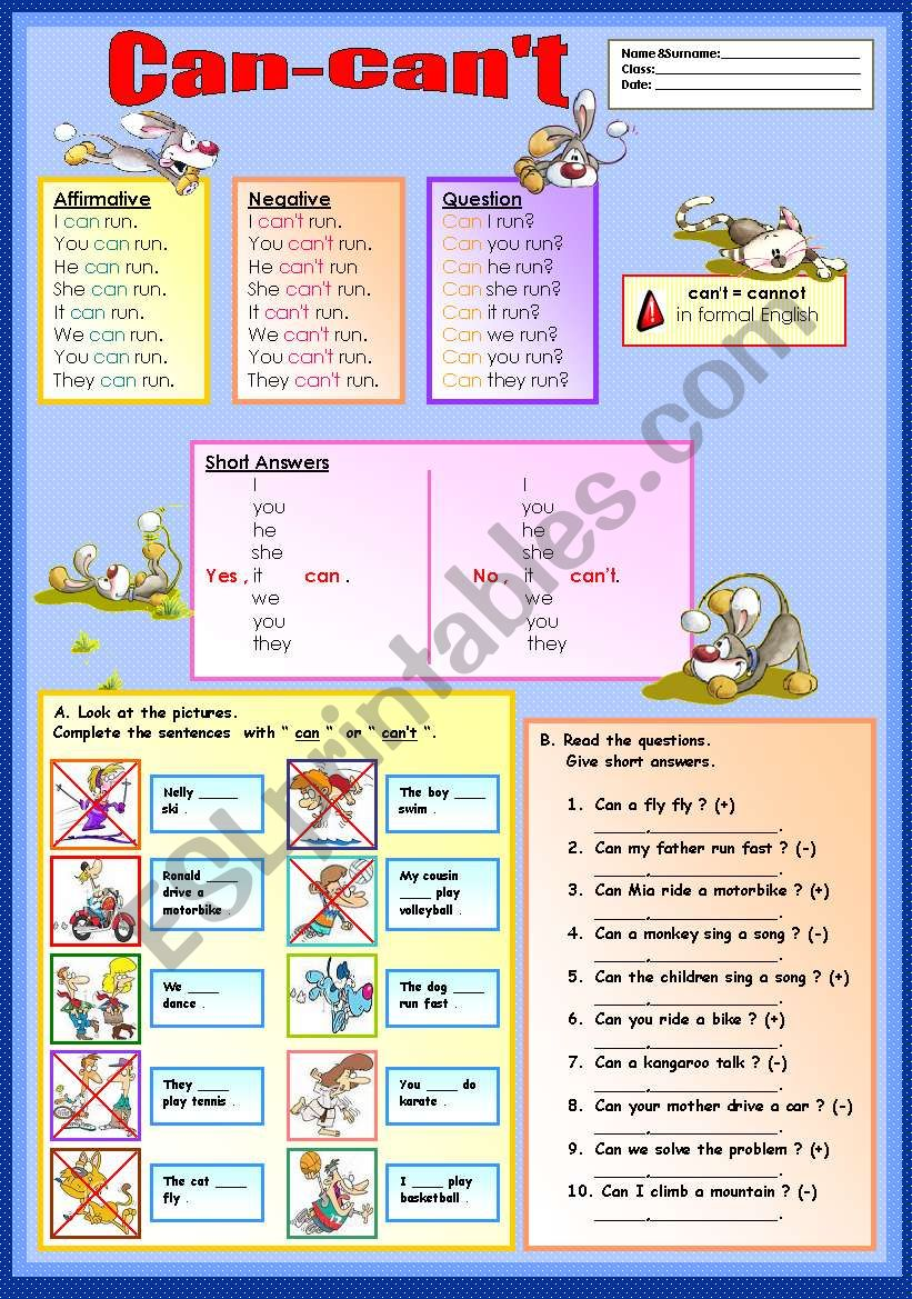 can-can´t worksheet