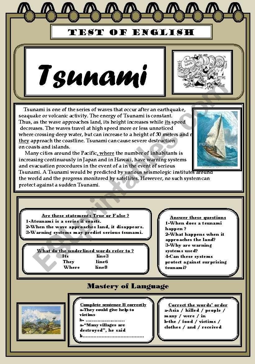 worksheet Tsunami Worksheet english worksheets tsunami test of worksheet