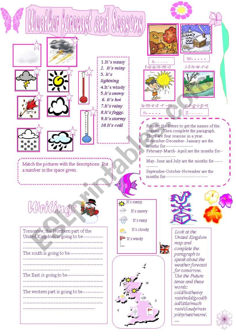 Weather forecast and Seasons worksheet