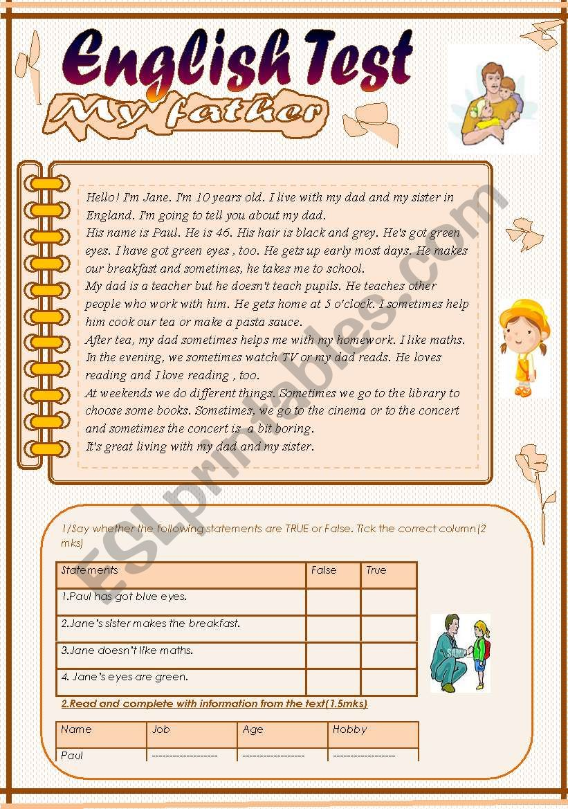 English Test(3 parts): Reading Comprehension:My Father/Grammar+Vocabulary/Writing(+Key)