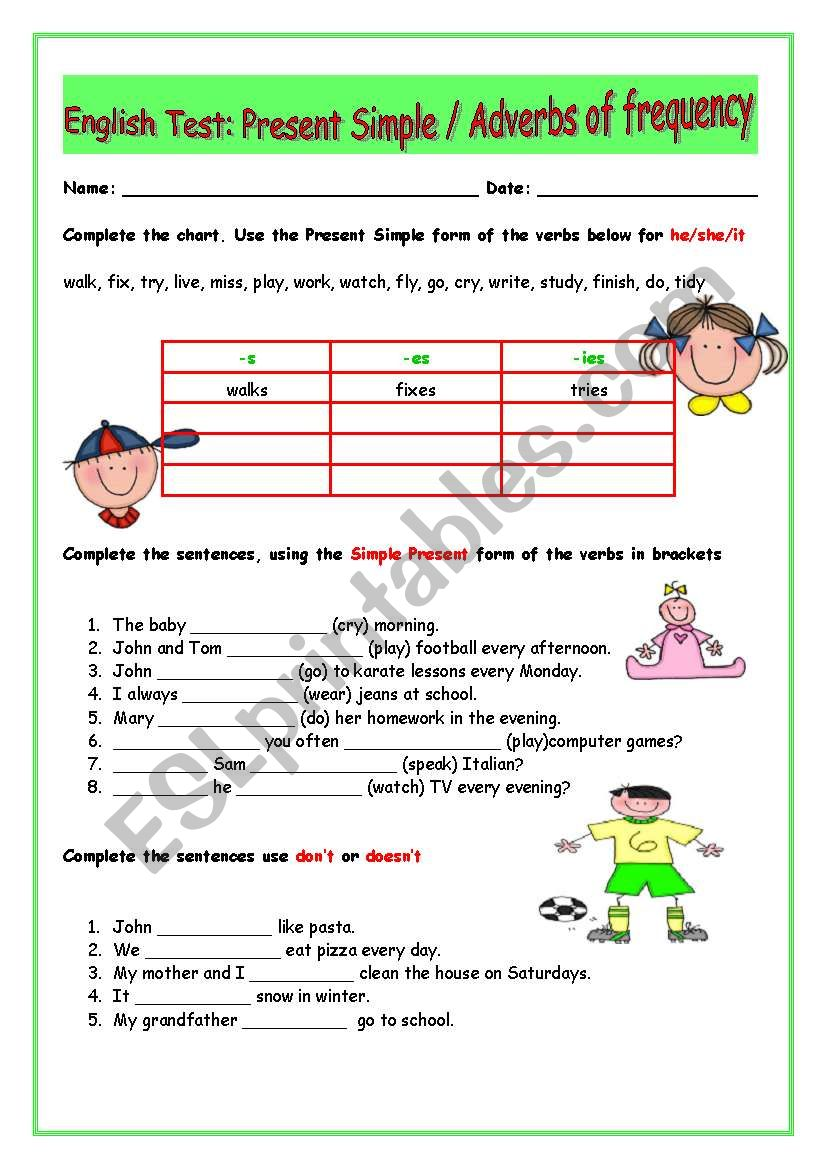 Present Simple/Adverbs of Frequency/ Test / 2 pages