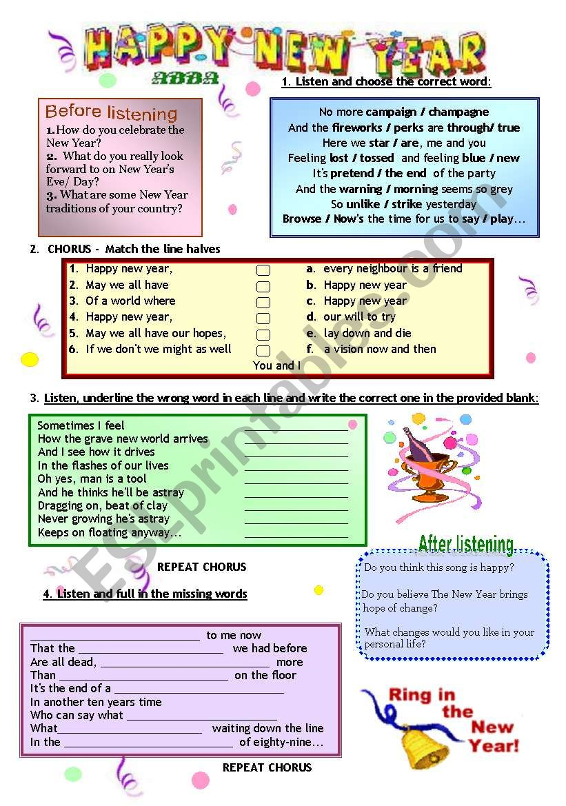 4 Songs about  the New Year  worksheet
