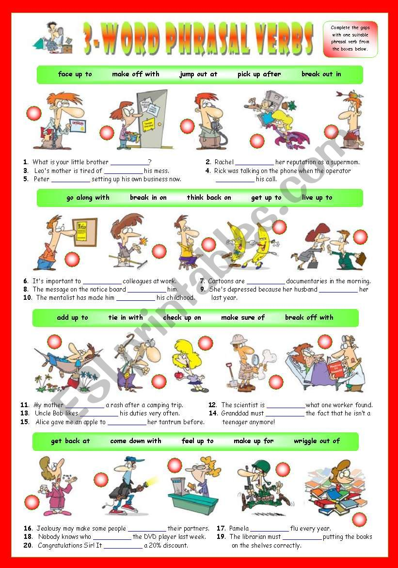 Second series of 3-Word Phrasal Verbs. Exercises (Part 2/3). Key  included!!! - ESL worksheet by avidrox