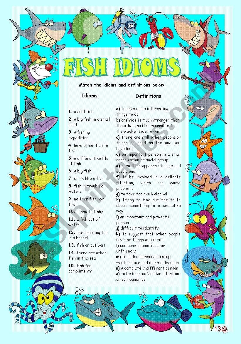 FISH IDIOMS - ESL worksheet by teresaraiva