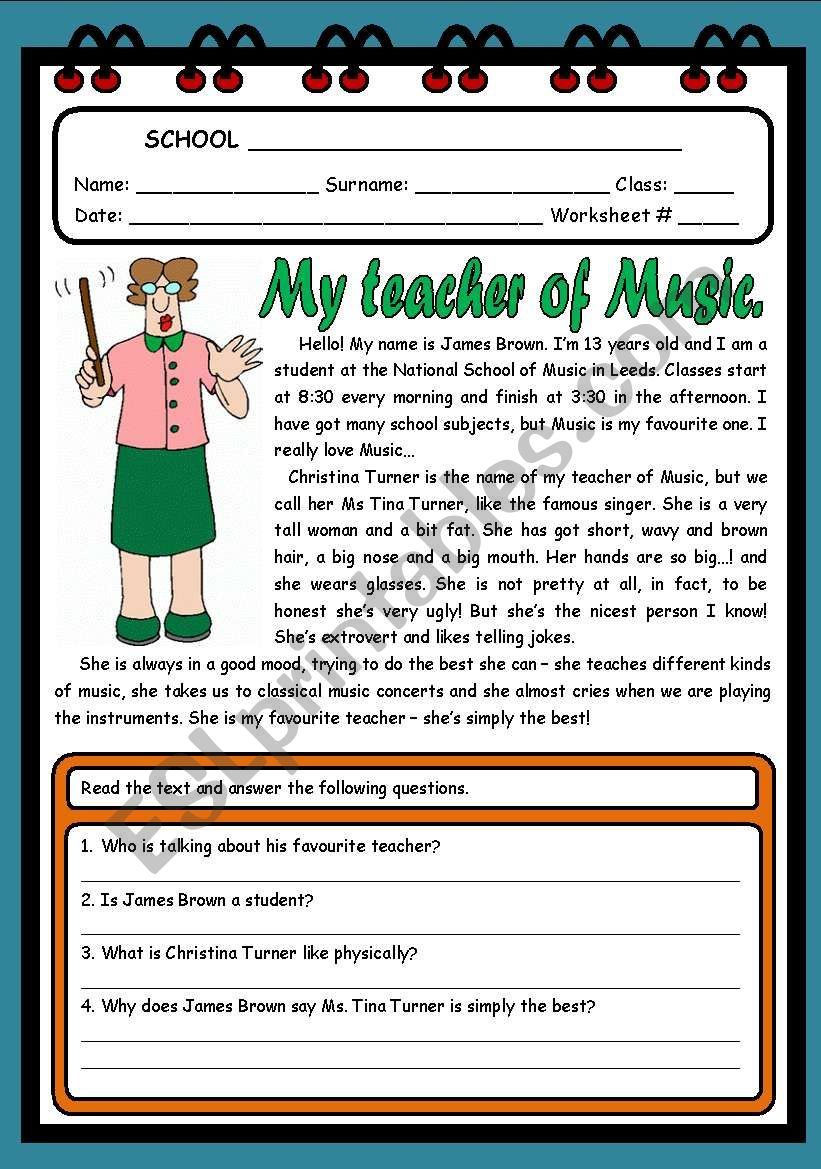 MY TEACHER OF MUSIC ( 2 PAGES )