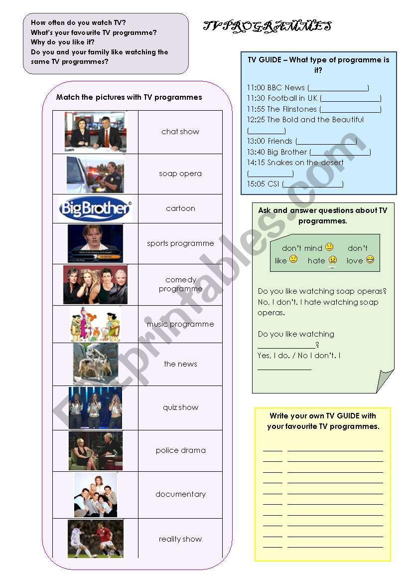 TV PROGRAMMES worksheet