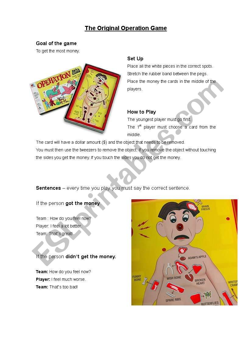 English Worksheets Operation Game Instructions