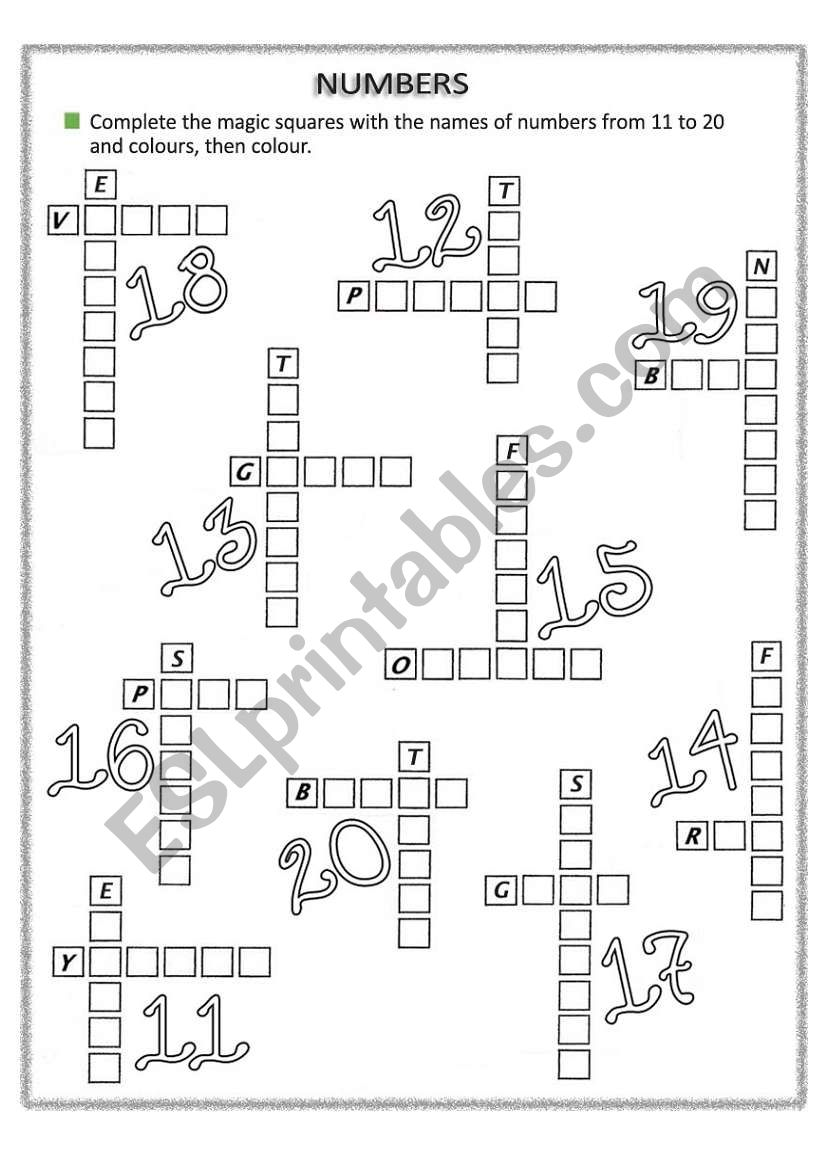 numbers from 11 to 20 worksheet