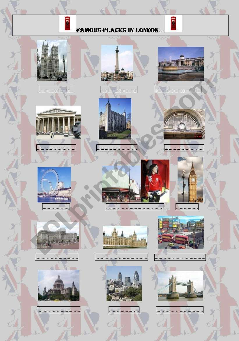 famous places in London worksheet