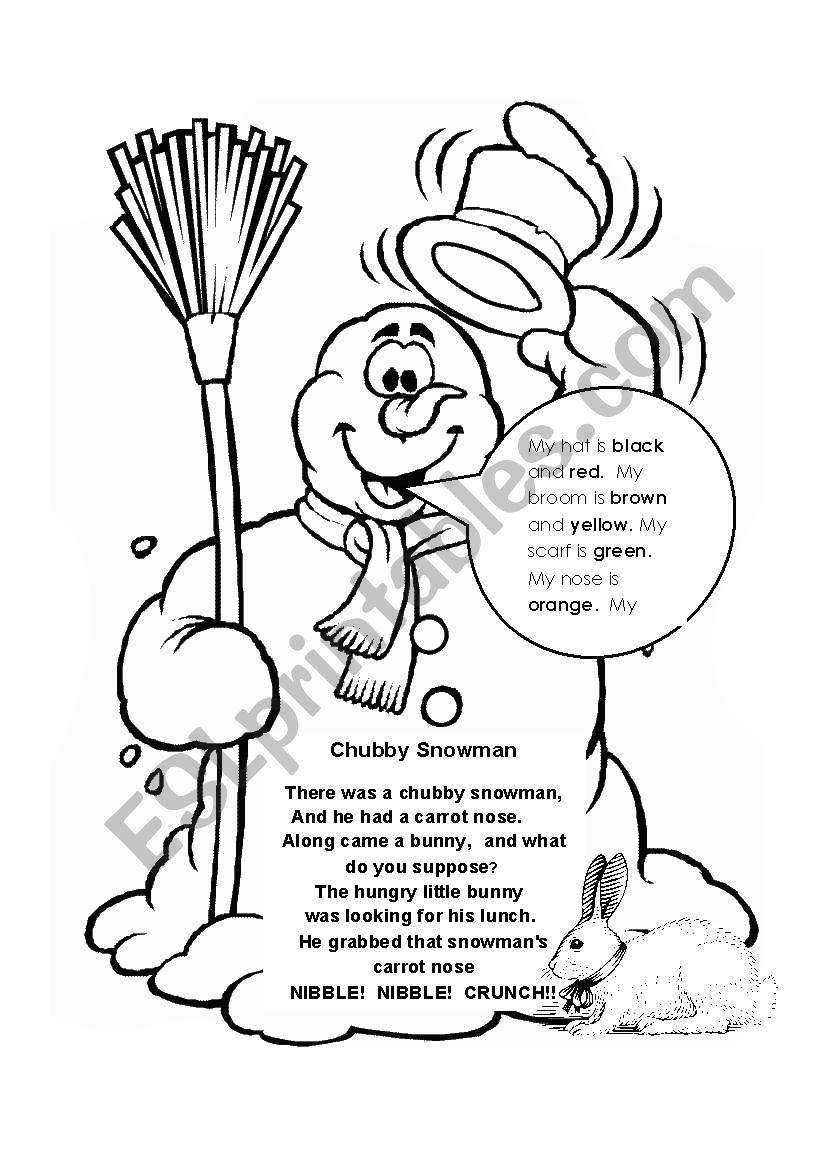 photograph regarding Chubby Little Snowman Poem Printable referred to as Snowman poem - ESL worksheet via Cristina Ann