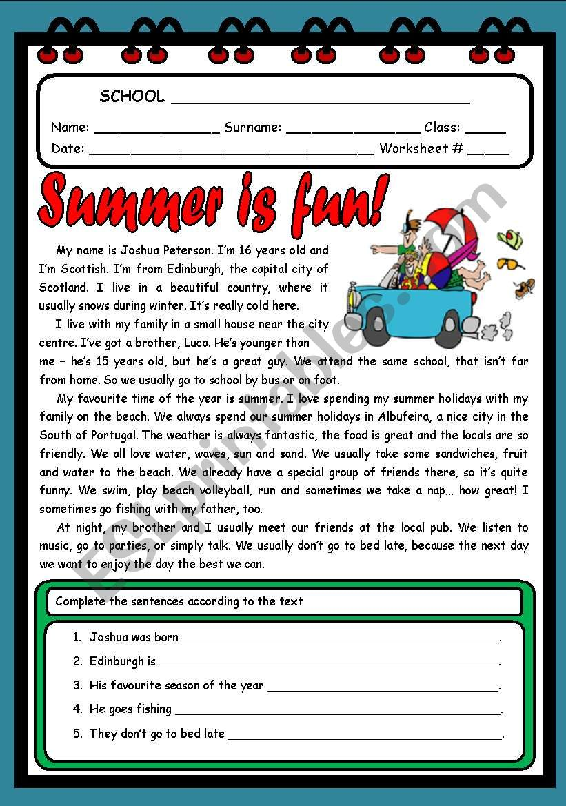 SUMMER IS FUN! ( 2 PAGES ) worksheet