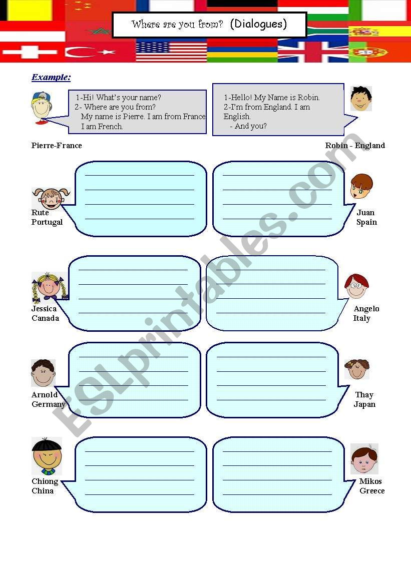 Where are you from? (2 pages) worksheet