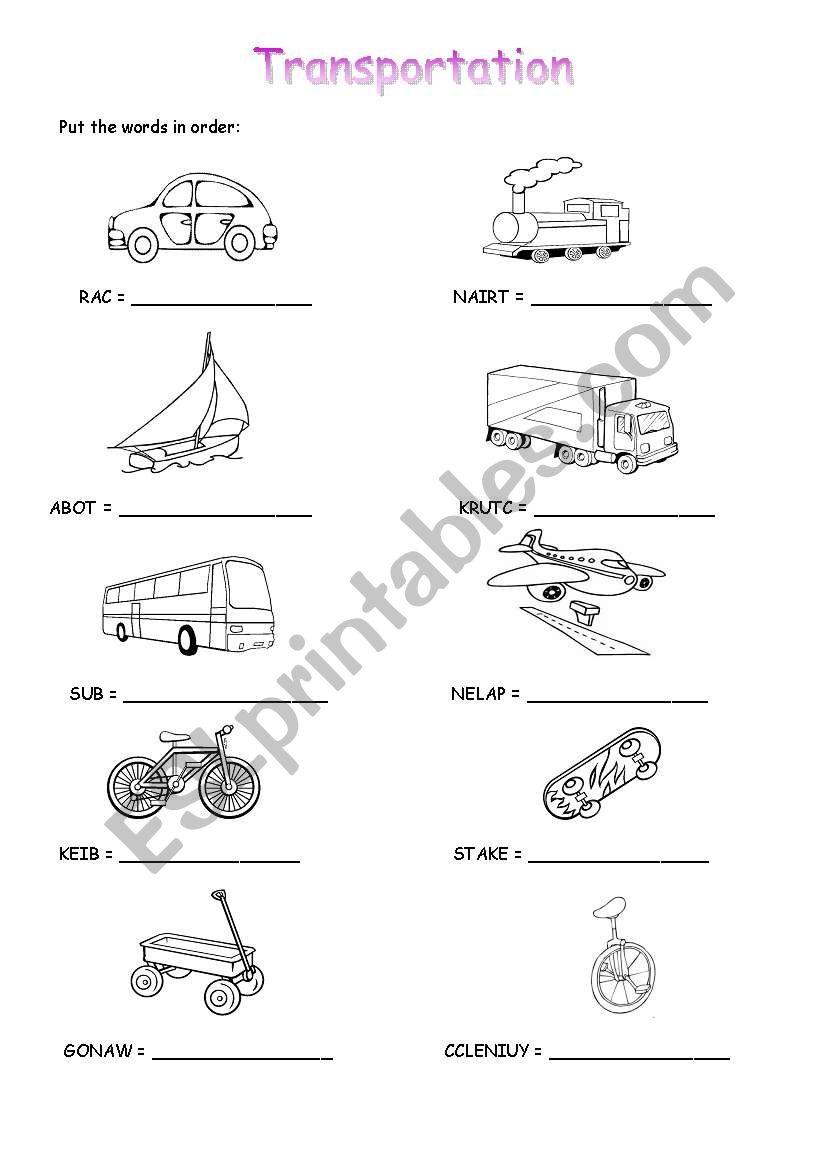 transportation esl worksheet by daflesha. Black Bedroom Furniture Sets. Home Design Ideas
