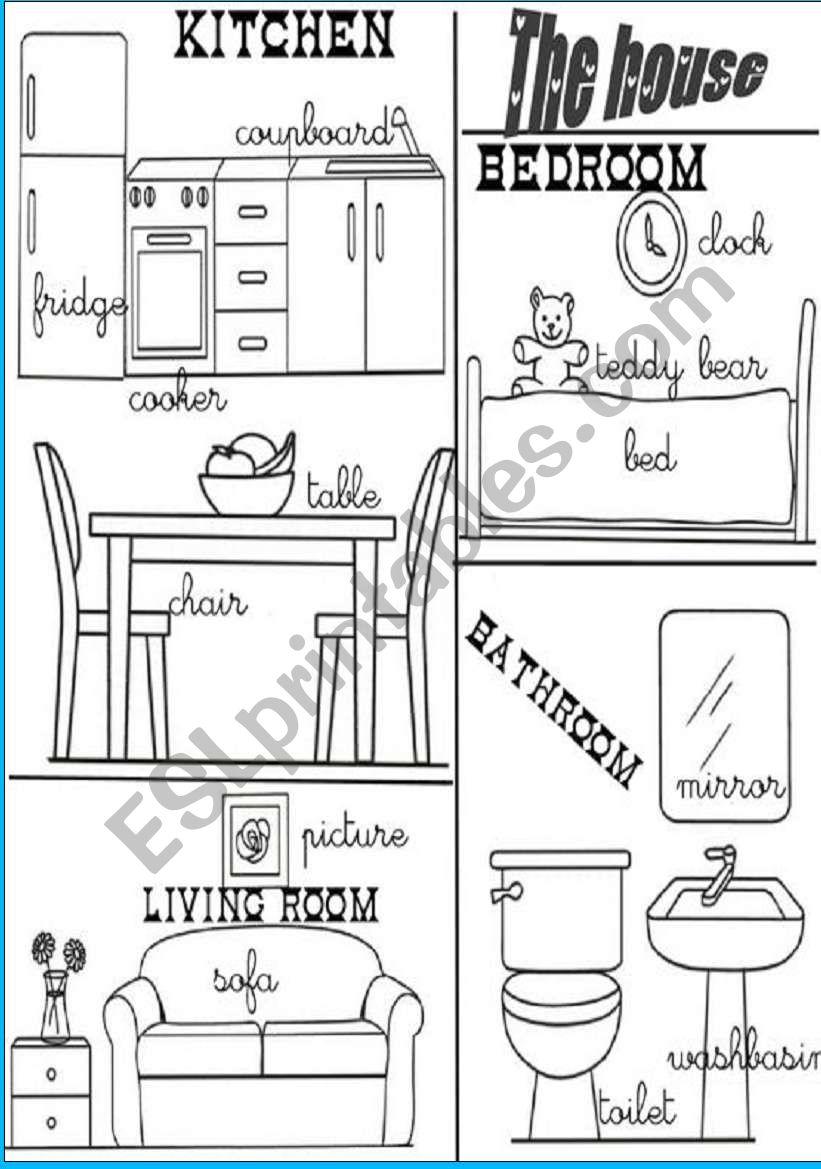 House Rooms Worksheet: ESL Worksheet By Angelamoreyra