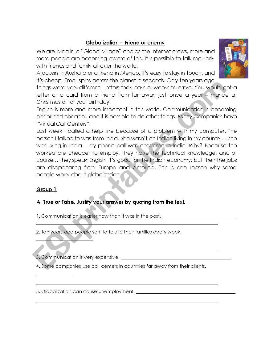 Test : Globalization worksheet