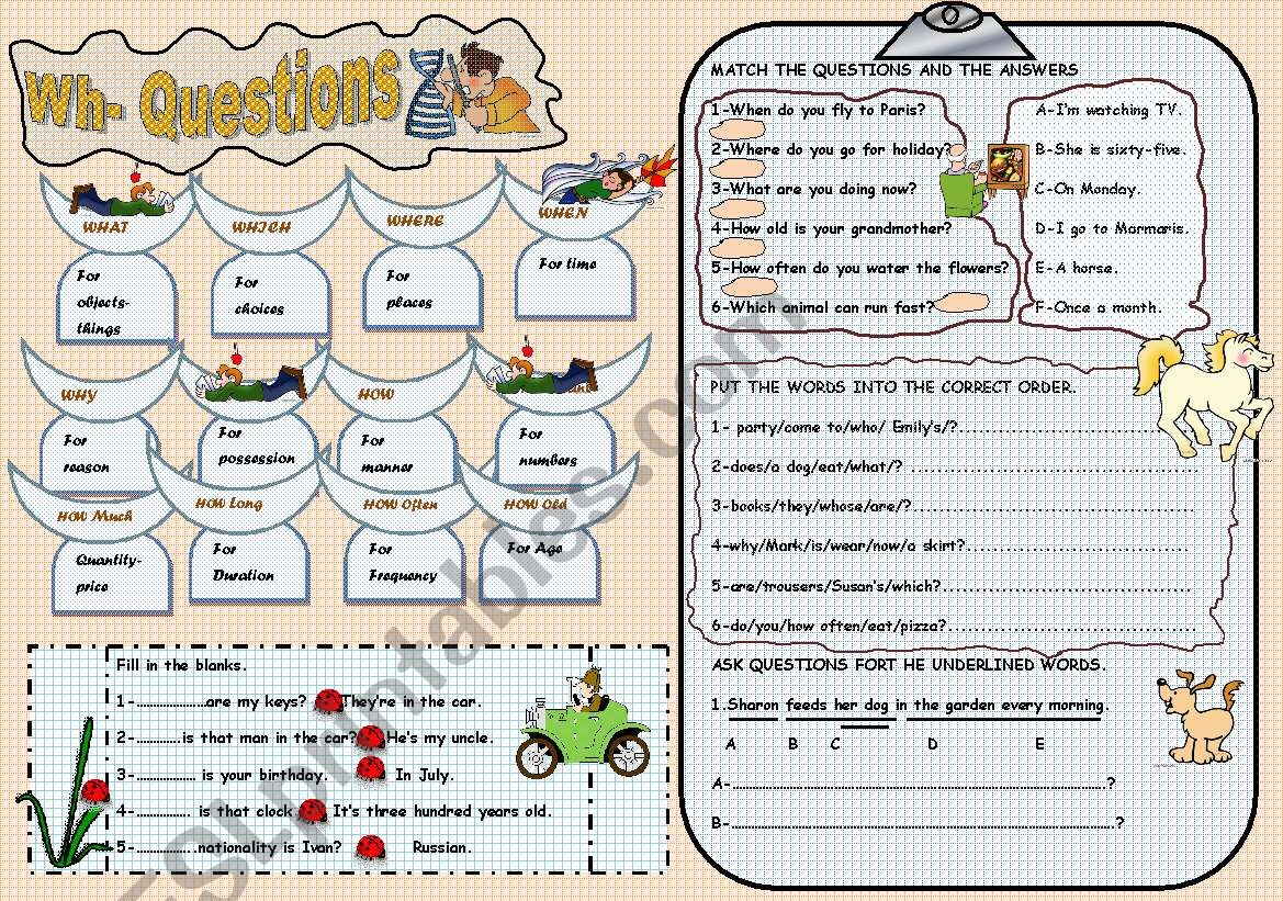Wh- questions worksheet