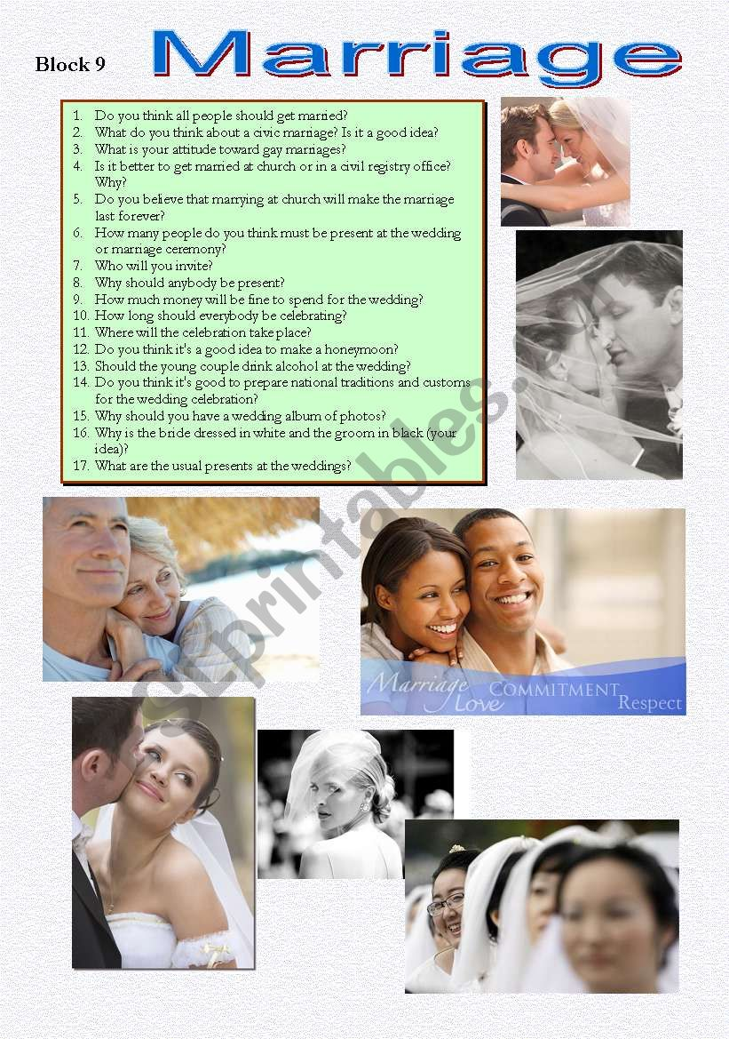 Block 9 Marriage worksheet
