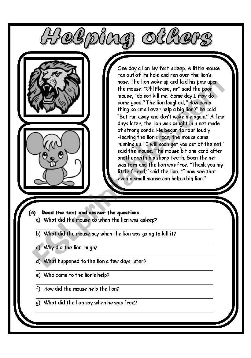Helping Others (2 Pages) worksheet