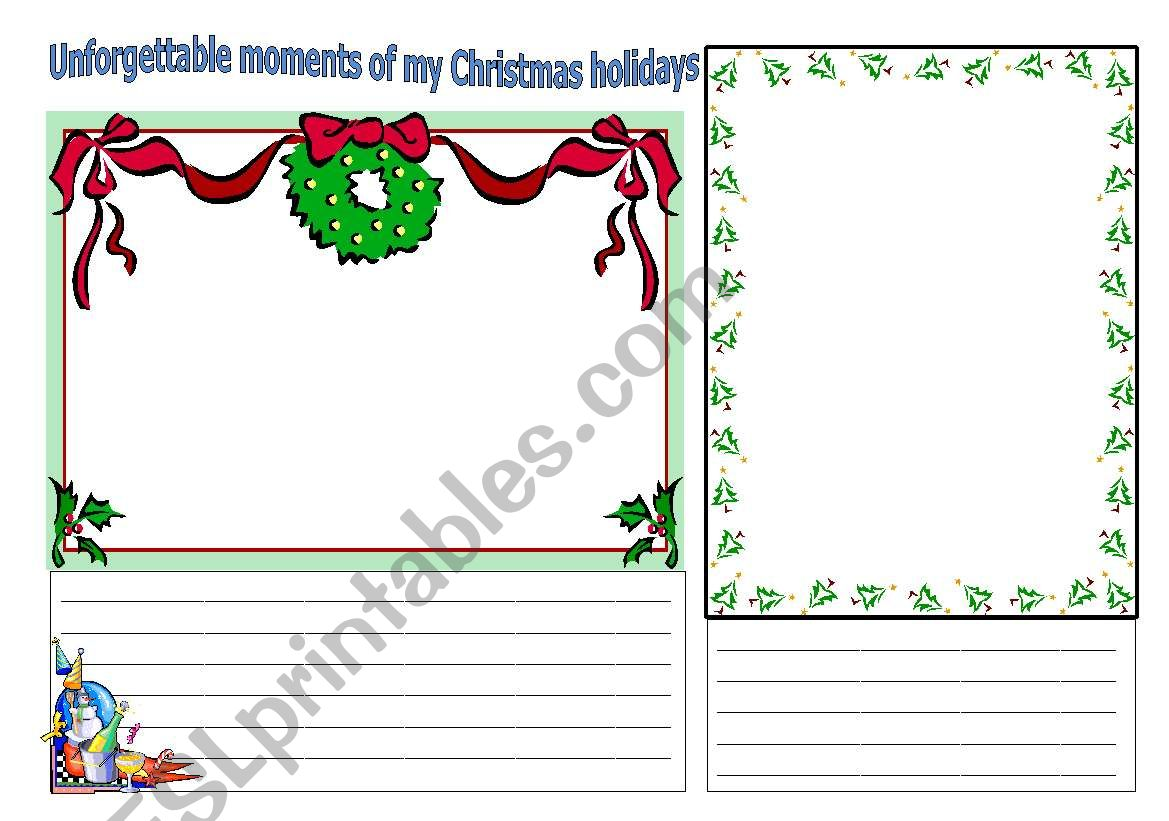 Christmas memories worksheet