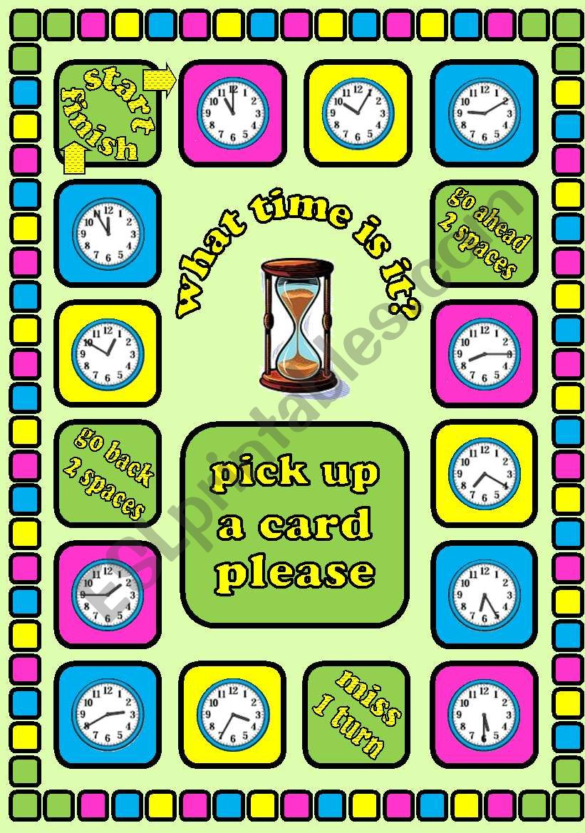 What time is it?. Time telling board game + cards + instructions. Fully editable