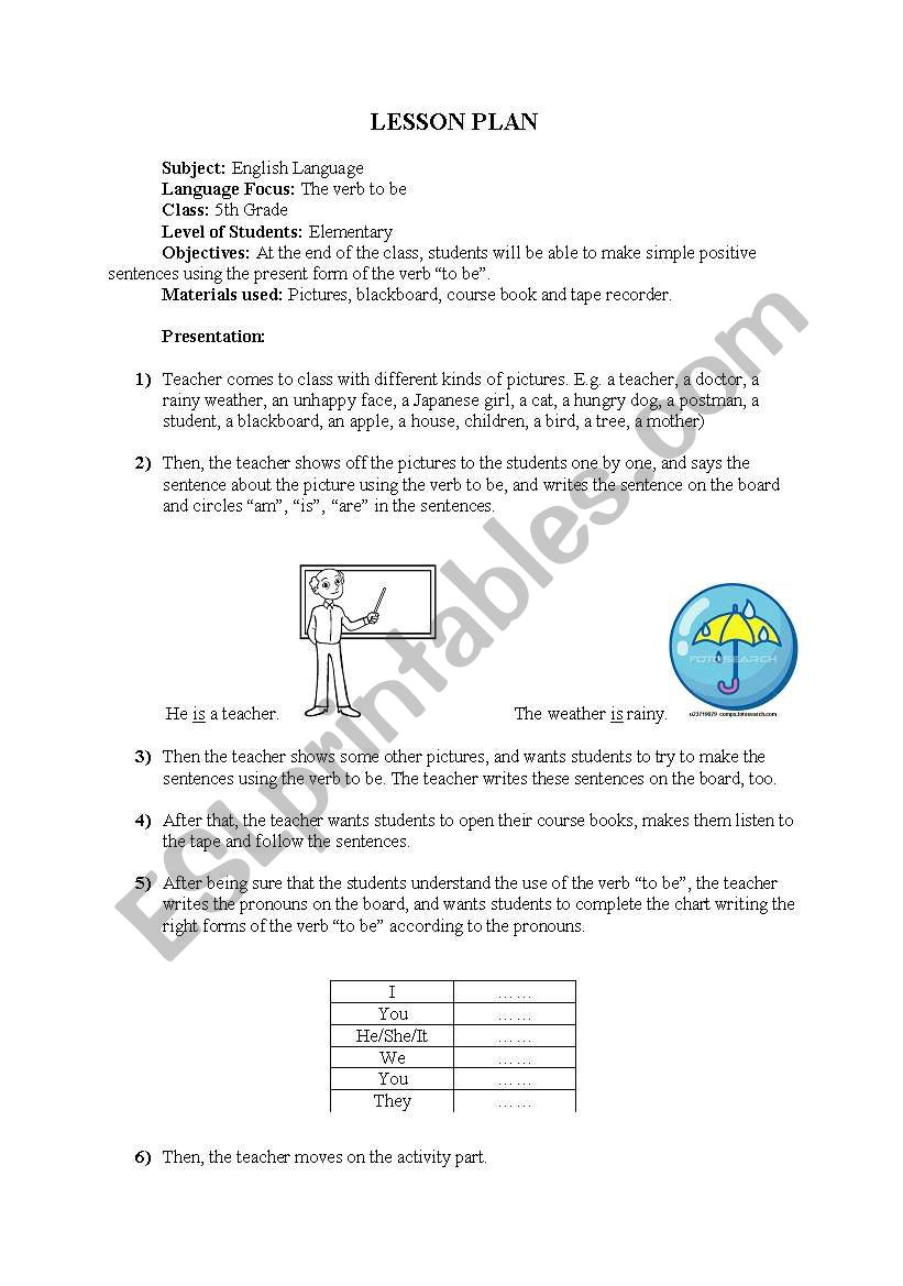 am, is, are lesson plan worksheet