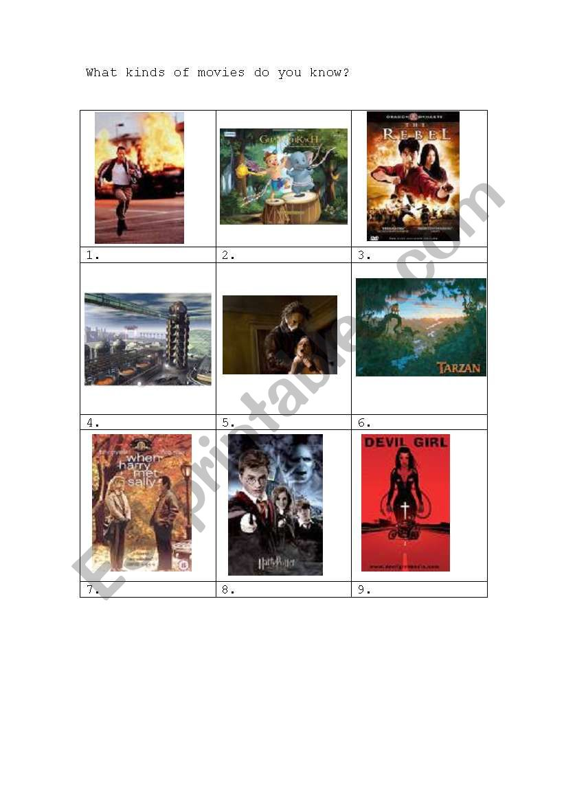Kinds of movies worksheet