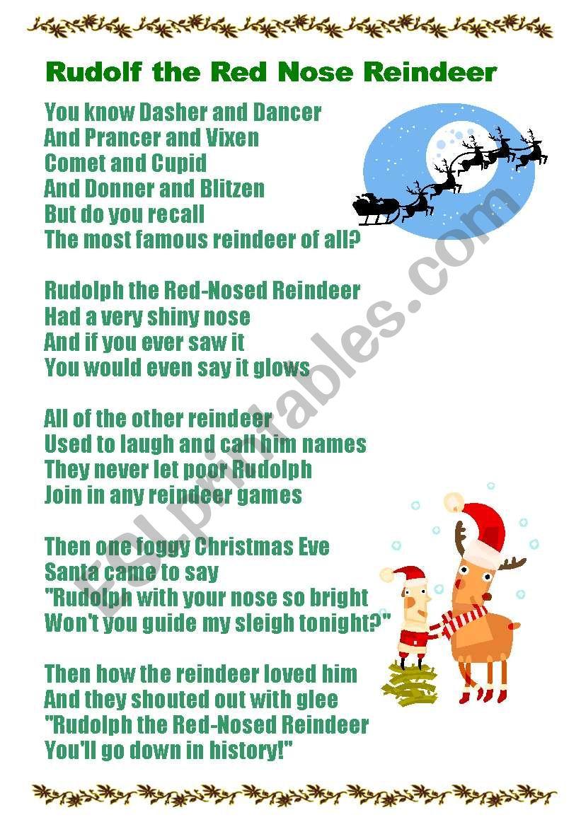 Rudolf the Red Nose Reindeer worksheet