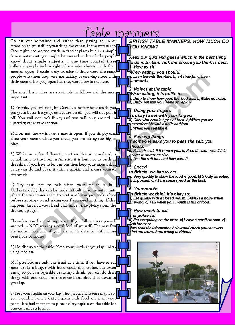 Table Manners Esl Worksheet By Amely13