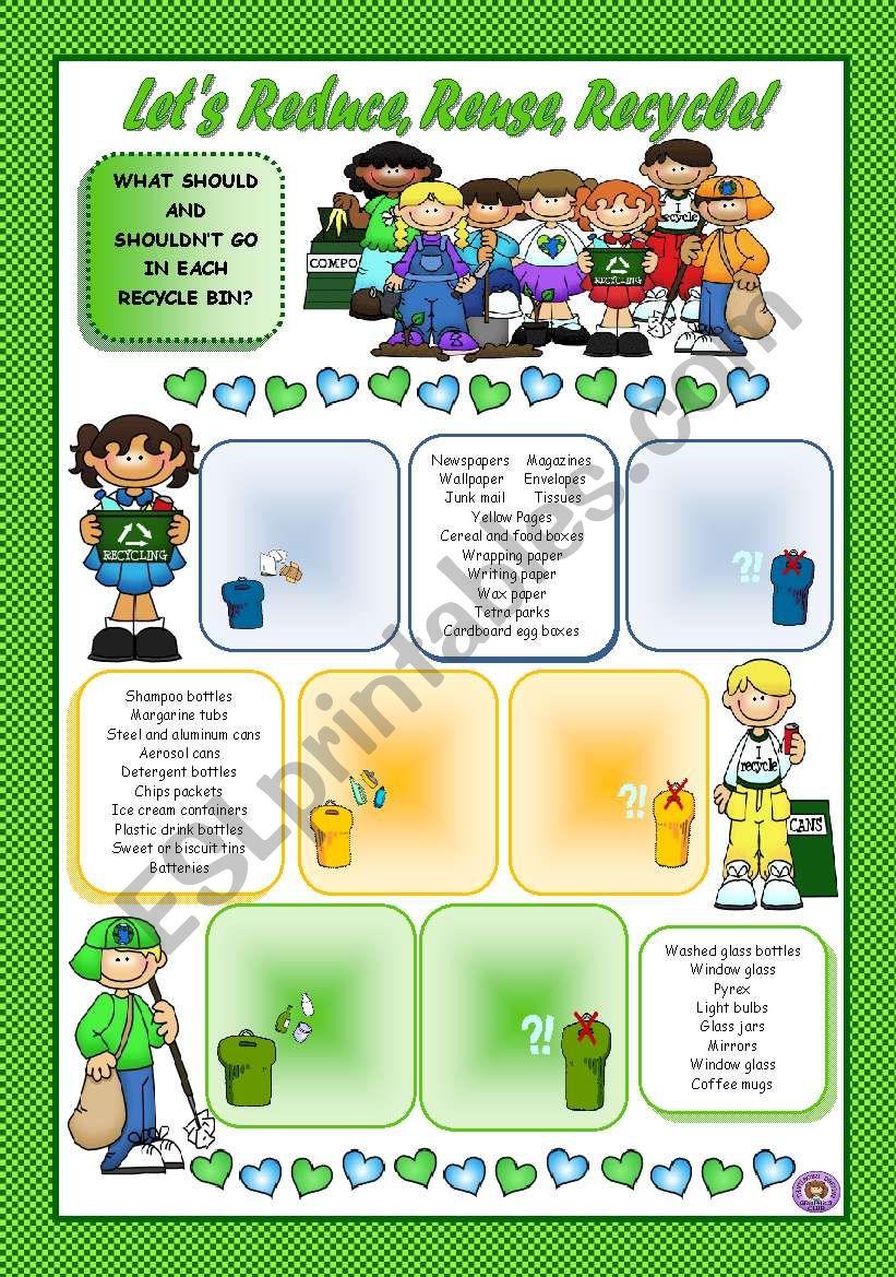 Let S Reduce Reuse Recycle Esl Worksheet By Mariaolimpia