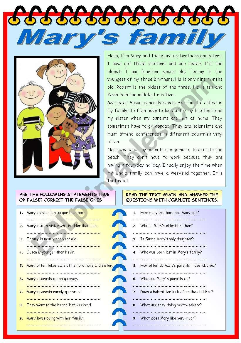 MARY´S FAMILY (READING + COMPREHENSION EXERCISES)