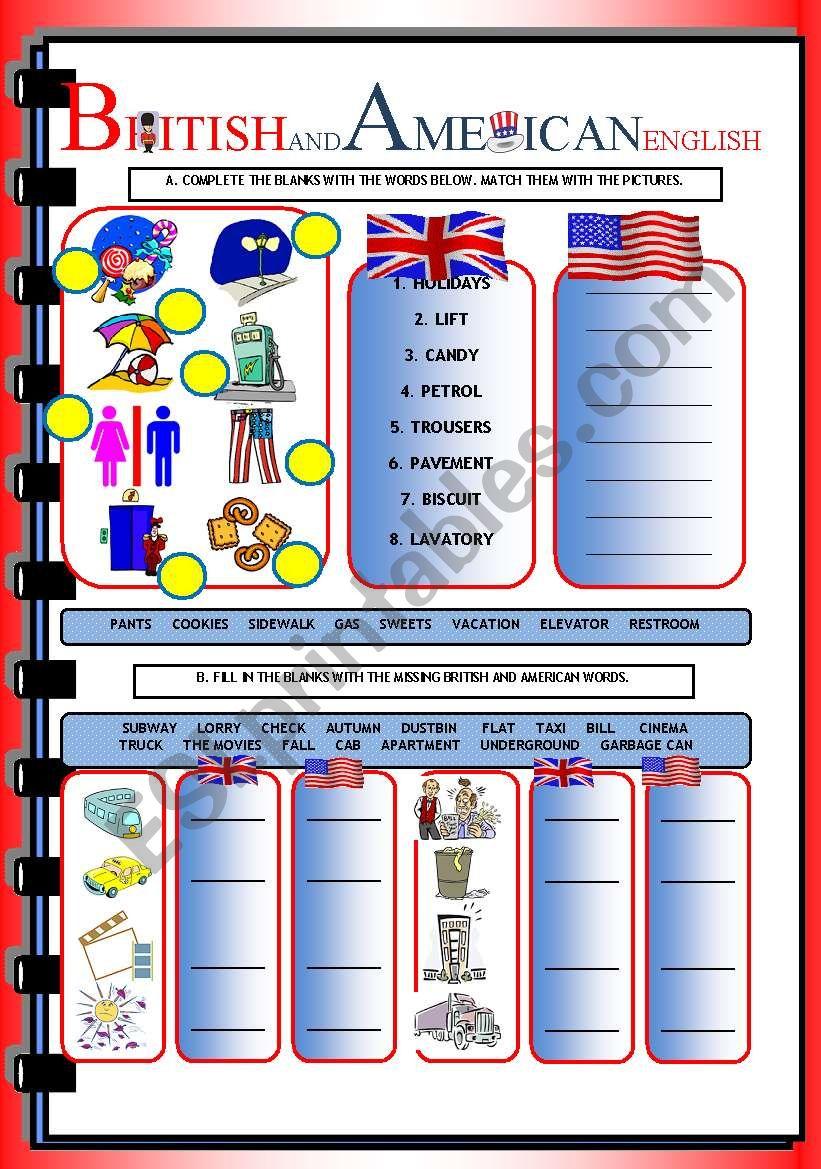 BRITISH & AMERICAN ENGLISH worksheet