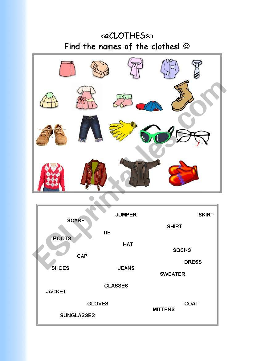 a matching activity-clothes worksheet
